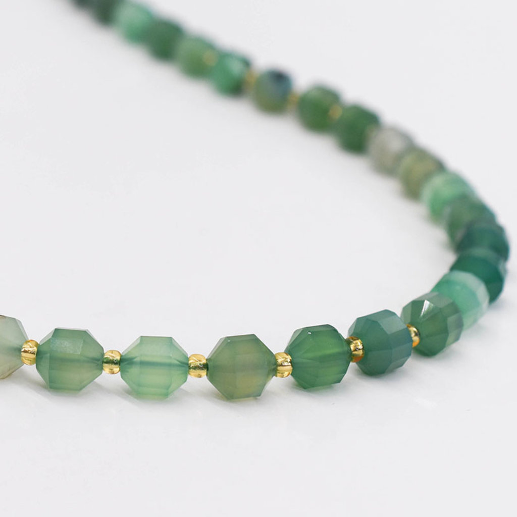"""Bead World Green Agate 7mm x8mm  16"""" Strand Faceted"""