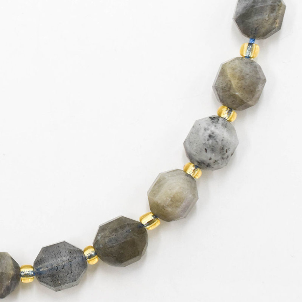 """Bead World Labradorite  7mm x8mm  16"""" Strand Faceted"""