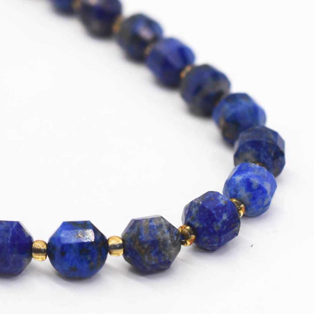 """Bead World Lapis Lazuli  7mm x8mm  16"""" Strand Faceted"""