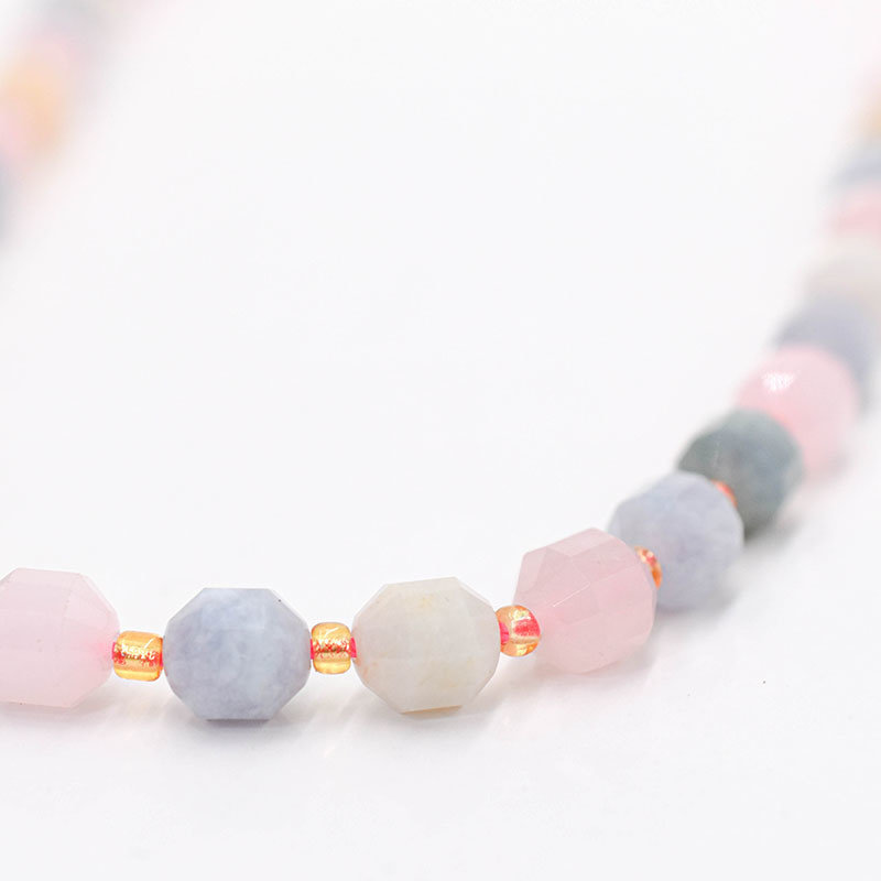 """Bead World Morganite 7mm x8mm  16"""" Strand Faceted"""
