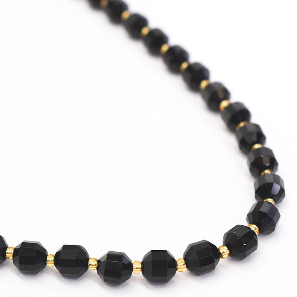 """Bead World Obsidian 7mm x8mm  16"""" Strand Faceted"""