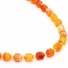"Bead World Orange Agate 7mm x8mm  16"" Strand Faceted"