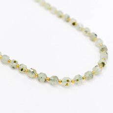 """Bead World Prehnite 7mm x8mm  16"""" Strand Faceted"""