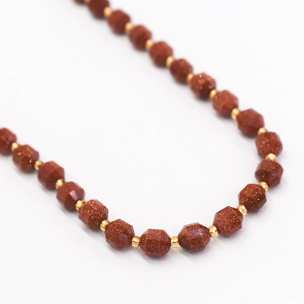 """Bead World Gold Sandstone  7mm x8mm  16"""" Strand Faceted"""