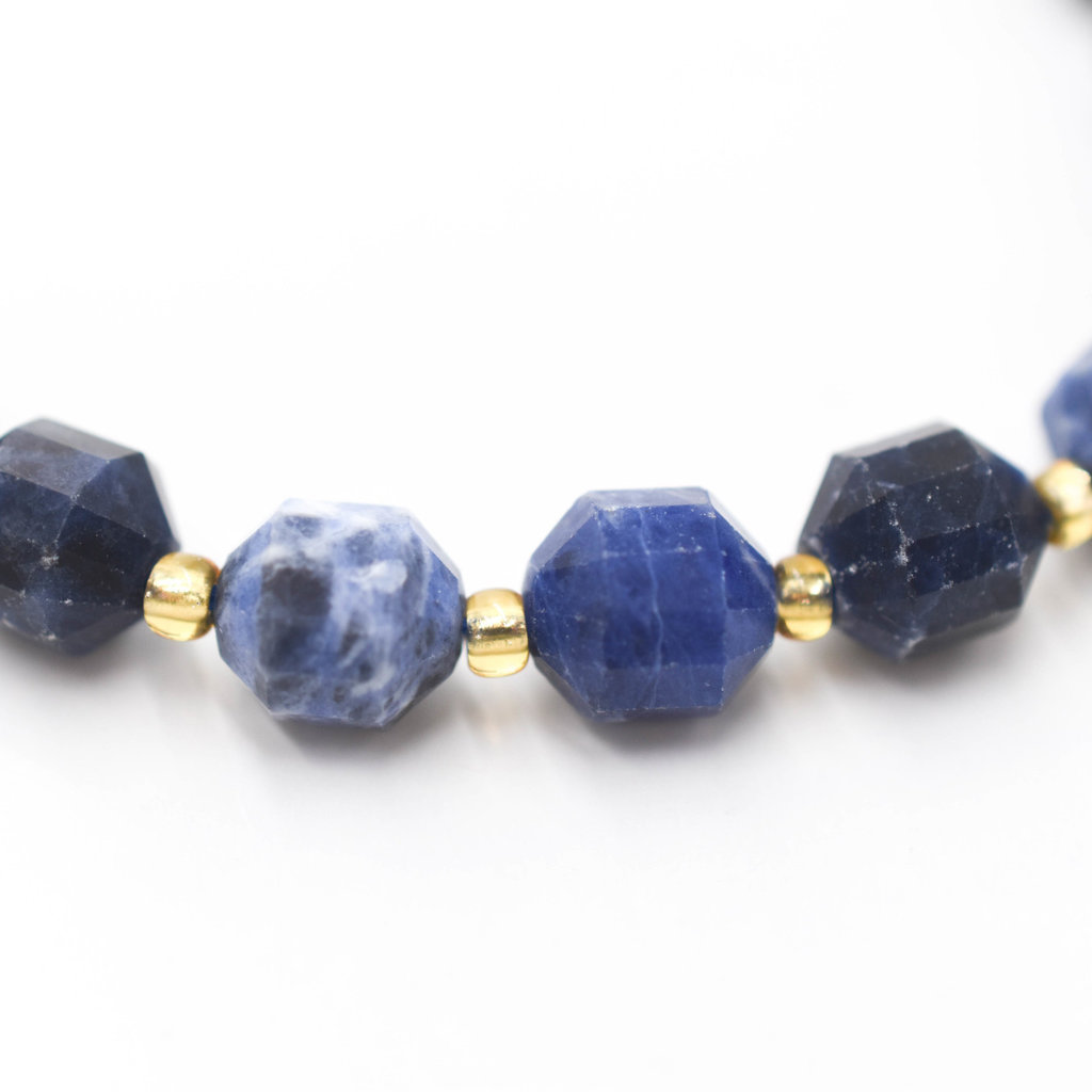 """Bead World Sodalite 7mm x8mm  16"""" Strand Faceted"""