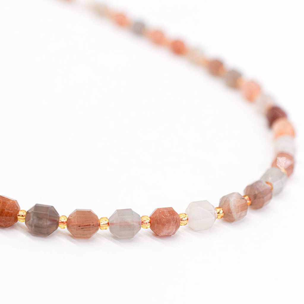 """Bead World Sunstone  7mm x8mm  16"""" Strand Faceted"""