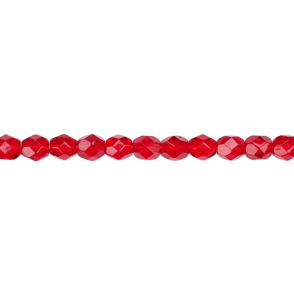 Preciosa Firepolish 16in strand Ruby Red