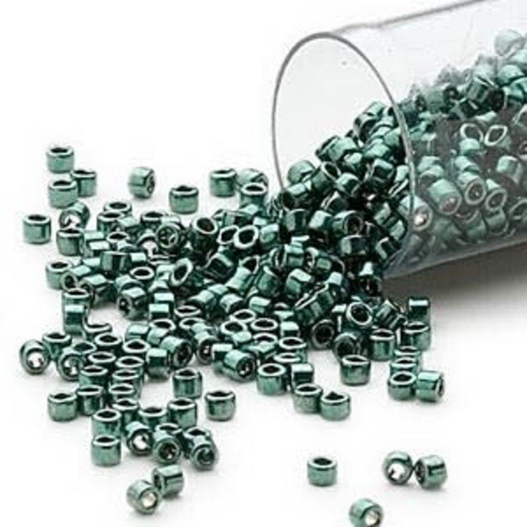 Miyuki Delica #11 Opaque Nickel Finished Dark Green DB0458 7.5 gram vial