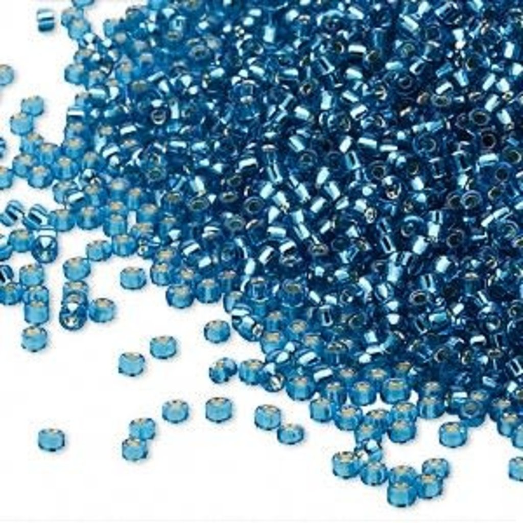 Miyuki #15 Rocaille Seed Bead Transparent Silver-Lined Blue 35 Grams