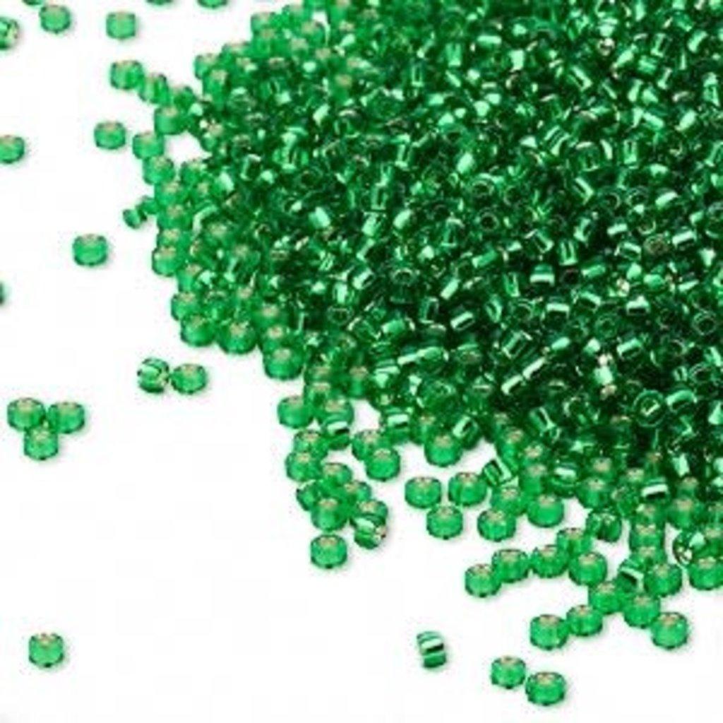 Miyuki #15 Rocaille Seed Bead Trans Silver-Lined Peridot Green 35 Grams