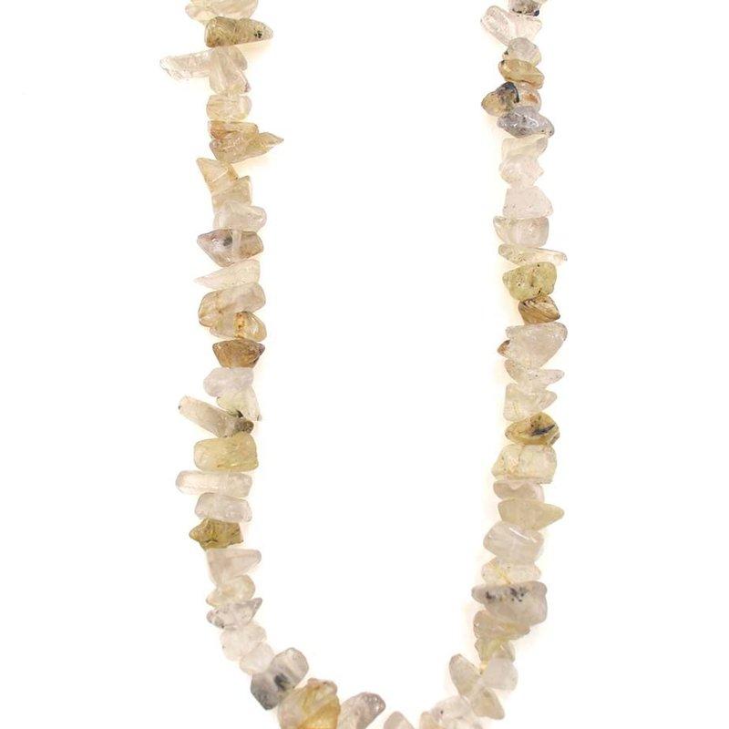 """Golden Rutilated Quartz Stone Chip 35"""" Strand"""