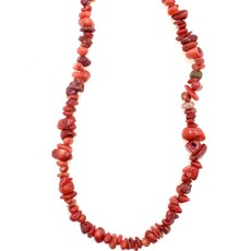 """Bamboo Coral (dyed) Red Stone Chip 31"""" Strand"""