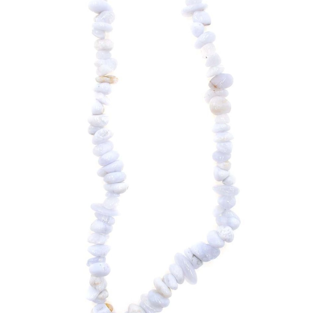 """Blue Lace Agate Stone Chip 36"""" Strand"""