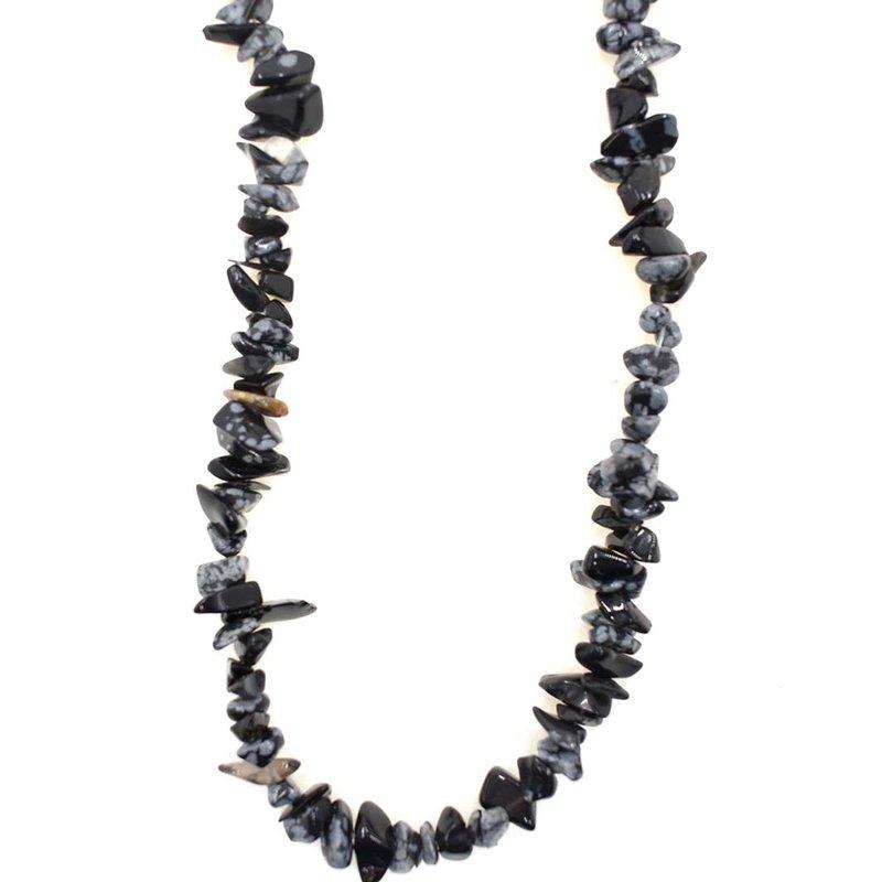 "Snowflake Obsidian Stone Chip 32"" Strand"