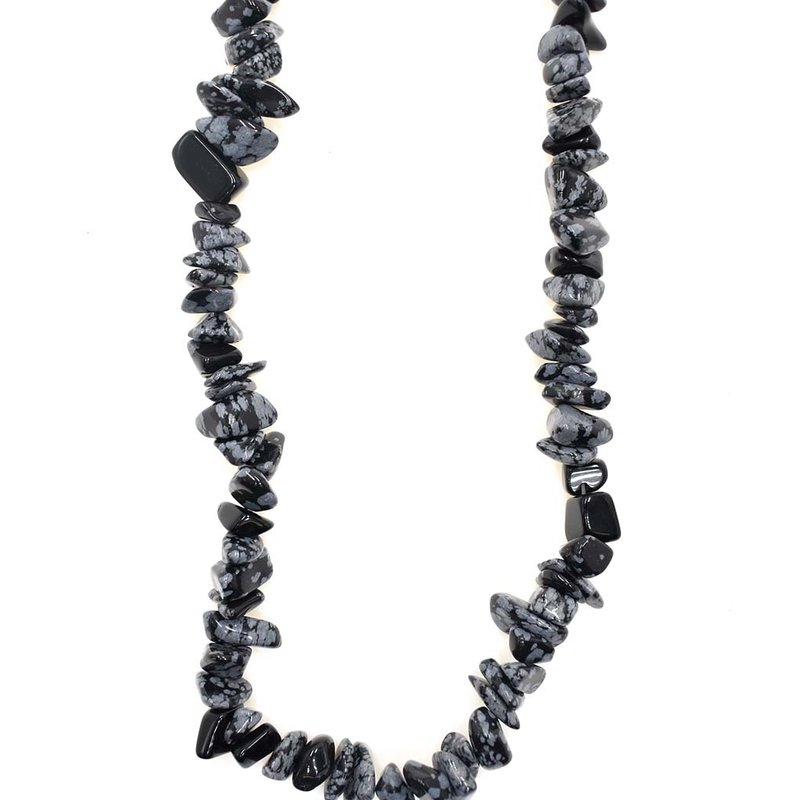 "Snowflake Obsidian Stone Chip 36"" Strand"