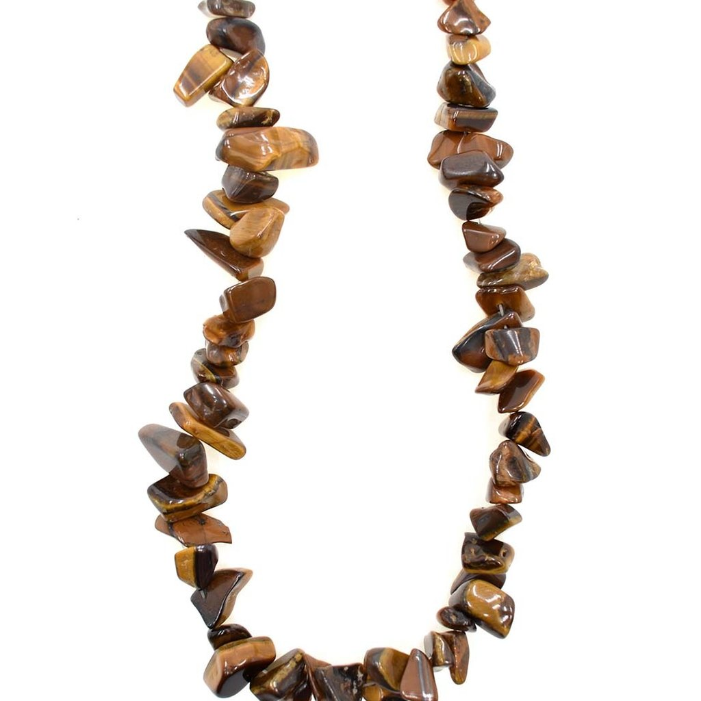 "Tiger Eye Stone Chip 36"" Strand"