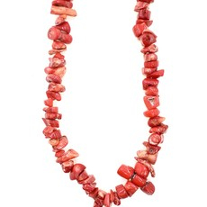"Bamboo Coral (dyed) Red Stone Chip 36"" Strand"