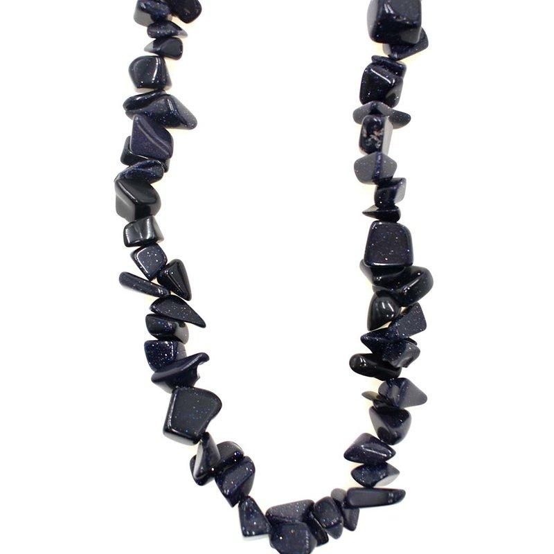 """Blue Goldstone Stone Chip 36"""" Strand"""