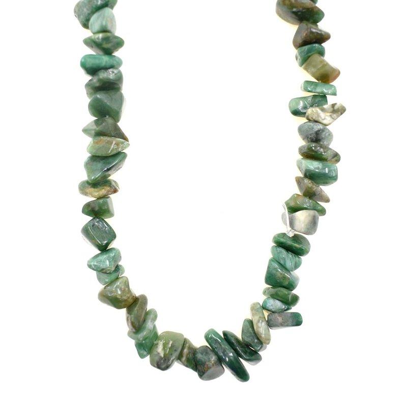"Green Agate  Stone Chip 36"" Strand"