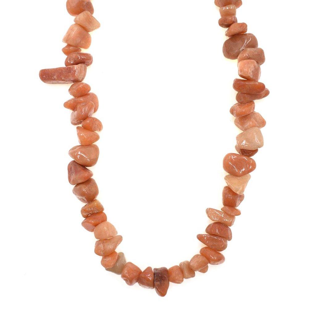 "Red Aventurine  Stone Chip 34"" Strand"