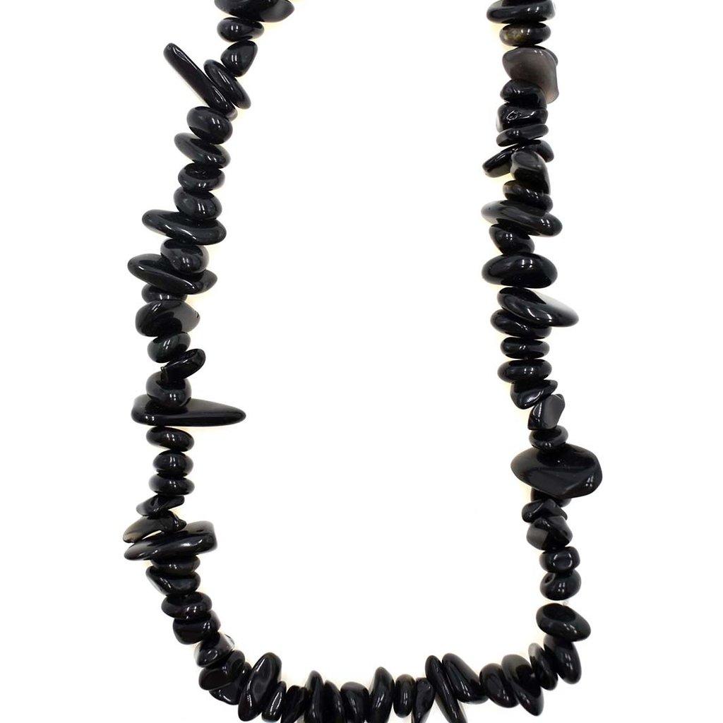 "Obsidian Stone Chip 36"" Strand"