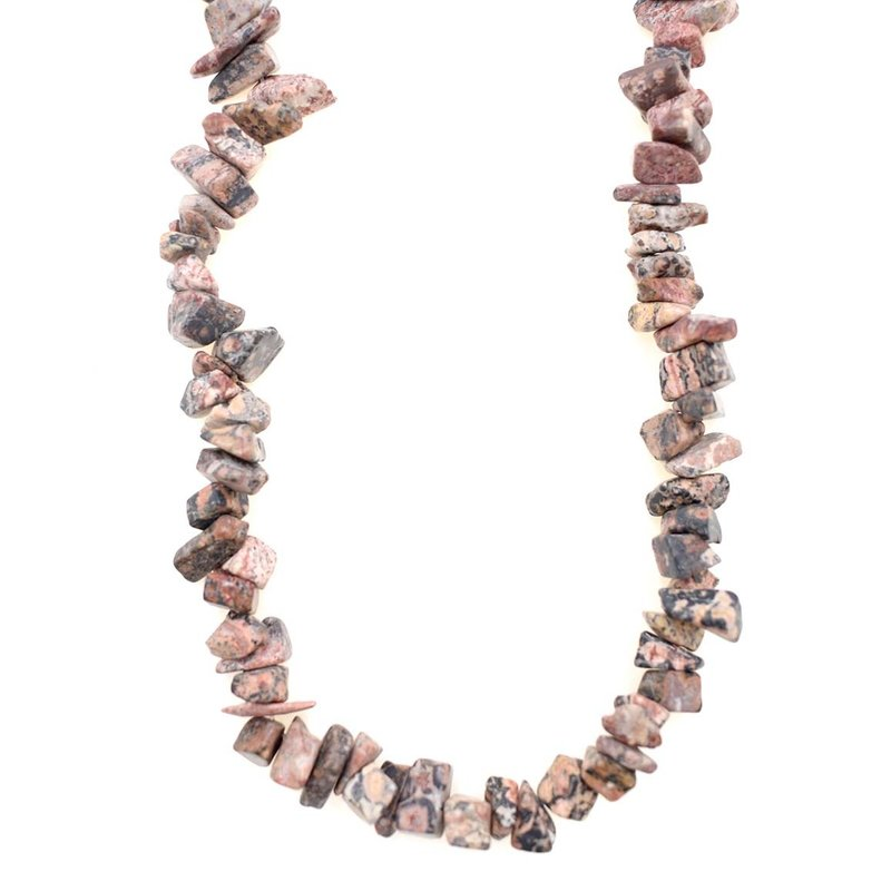 "Pink Leopard Skin Jasper Stone Chip 36"" Strand"