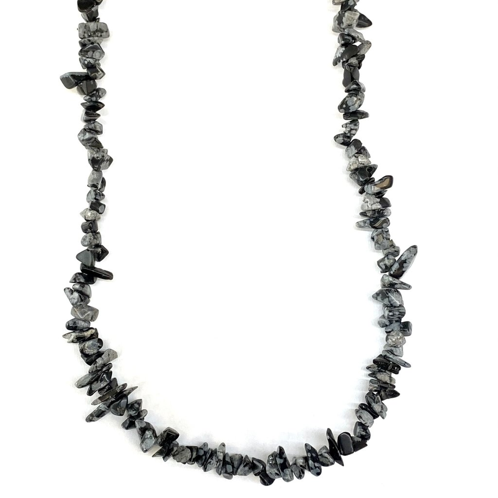 "Snowflake Obsidian Stone Chip 35"" Strand"