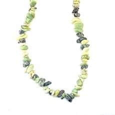 "Yellow ""Turquoise"" (Serpentine and Quartz) Natural Stone Chip 35"" Strand"