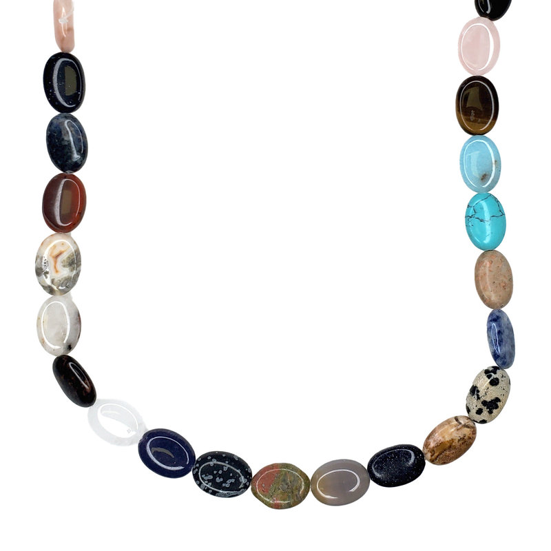 "Bead World Assorted Natural Stones - Oval Shaped 16mm 16"" Strand"