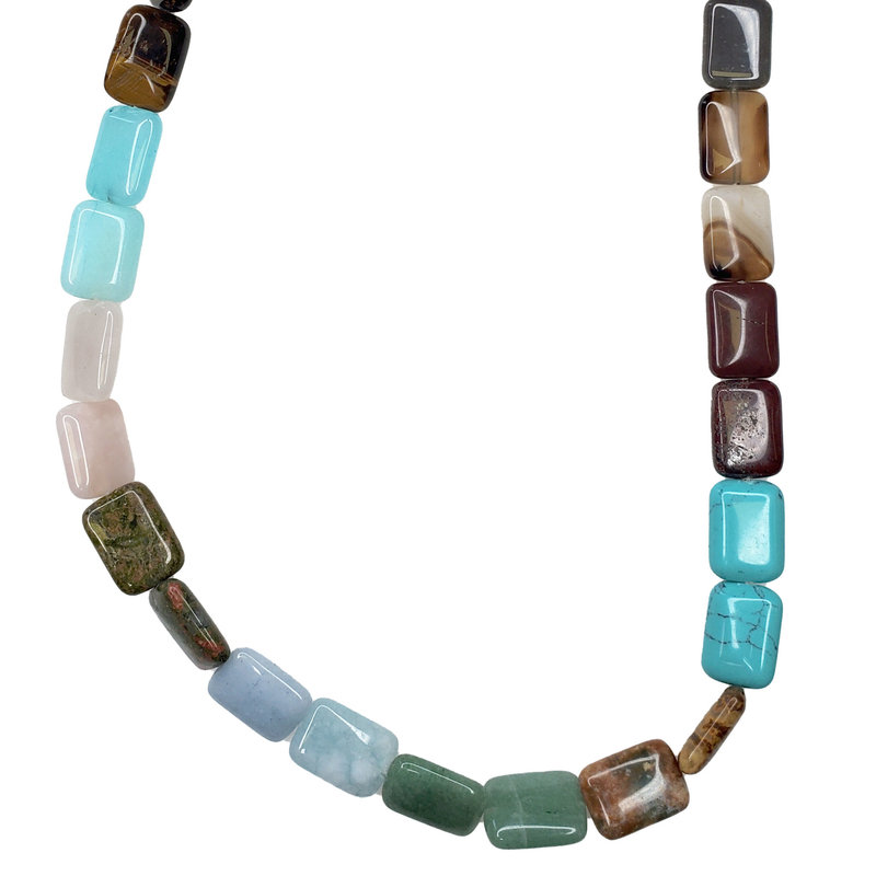 "Bead World Assorted Natural Stones - Square Shaped 16mm 16"" Strand"