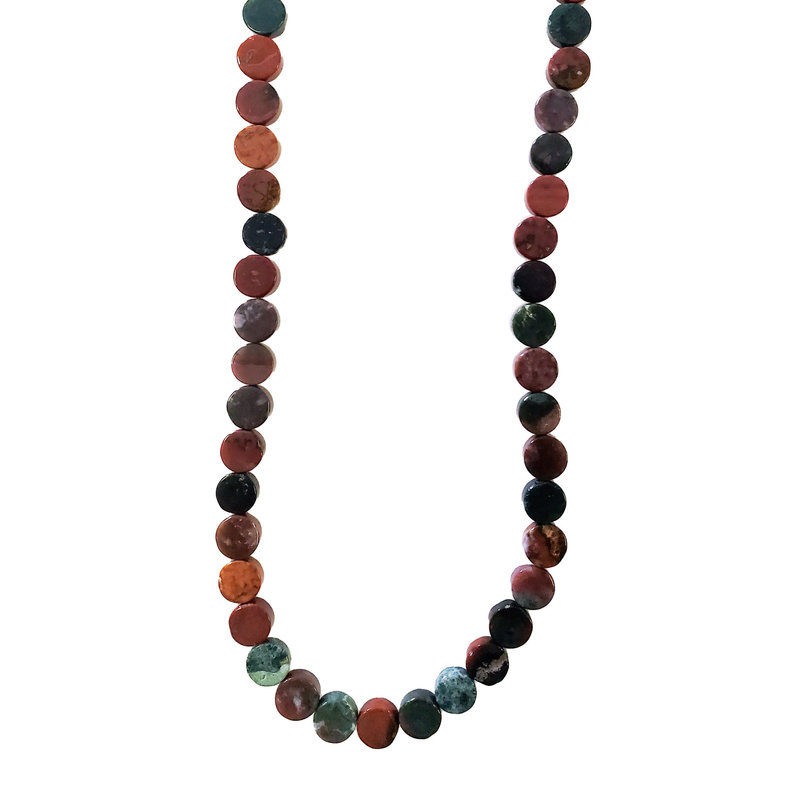 "Bead World Assorted Natural Stones - Coin Shaped 14mm 16"" Strand"