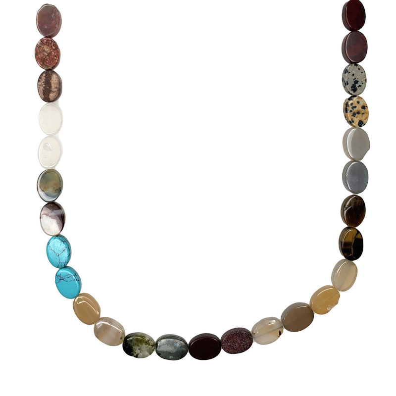 "Bead World Assorted Natural Stones - Oval Shaped 14mm 16"" Strand"