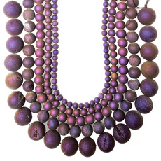 "Druzy Bead Purple 16"" Strand"