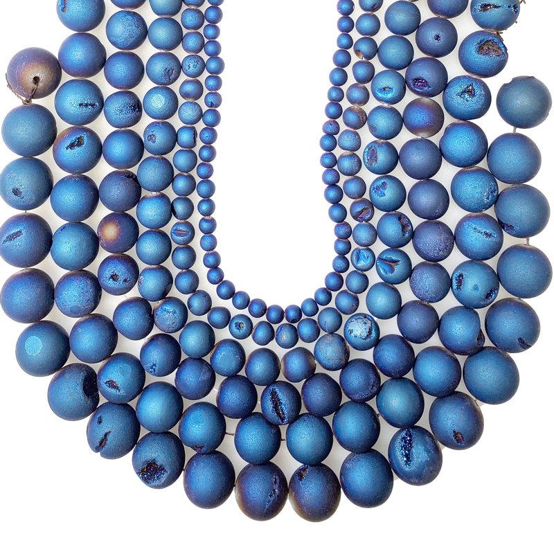"Druzy Bead Blue 16"" Strand"