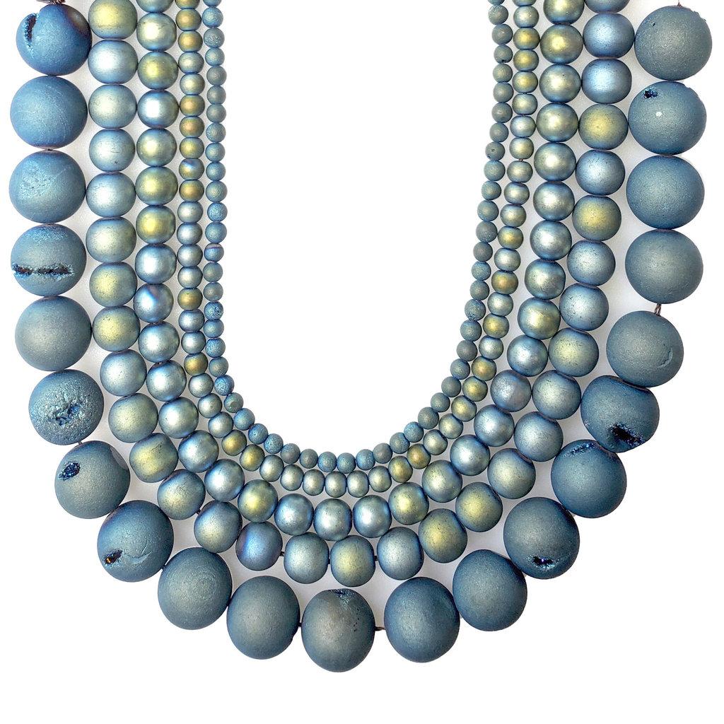 "Druzy Bead Blue Green 16"" Strand"