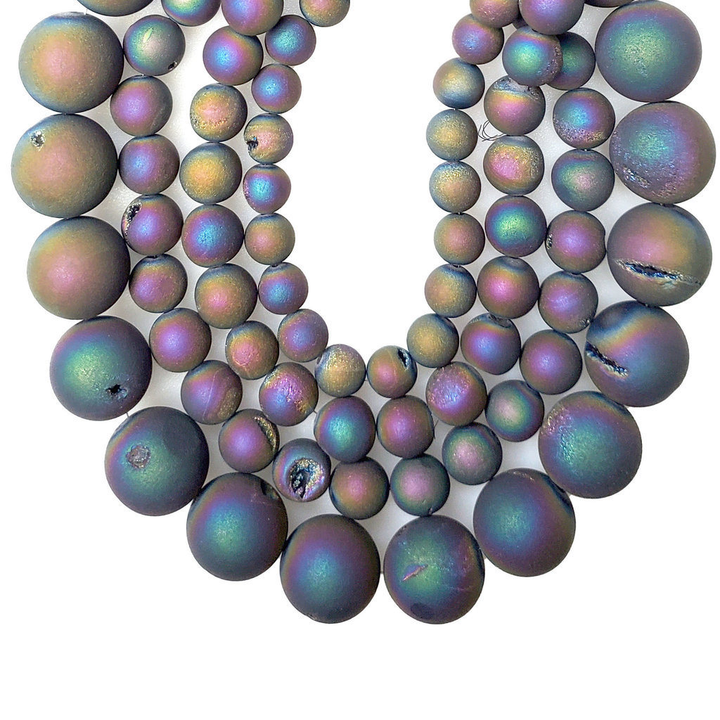 """Druzy Bead Multi-Colored 16"""" Connected Strand"""