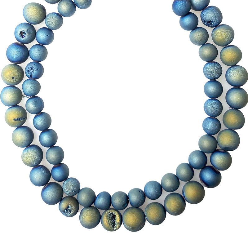 """Druzy Bead Blue Green 16"""" Connected Strand"""