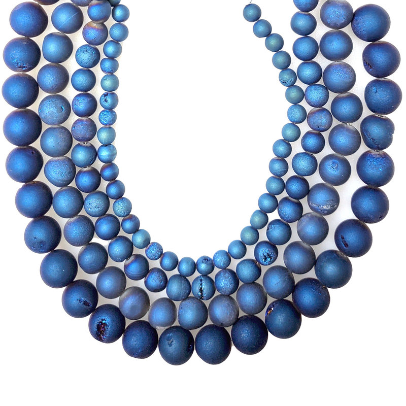 """Druzy Bead Blue 16"""" Connected Strand"""