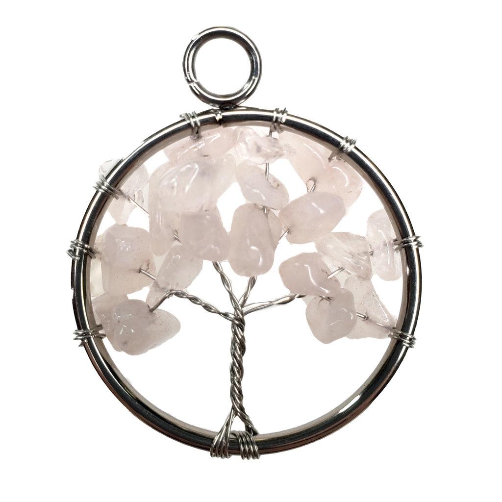 """Tree of Life Rose Quartz 1"""" Pendant"""