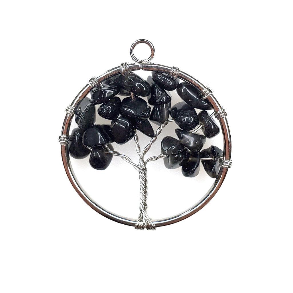 "Tree of Life Black Onyx 1"" Pendant"