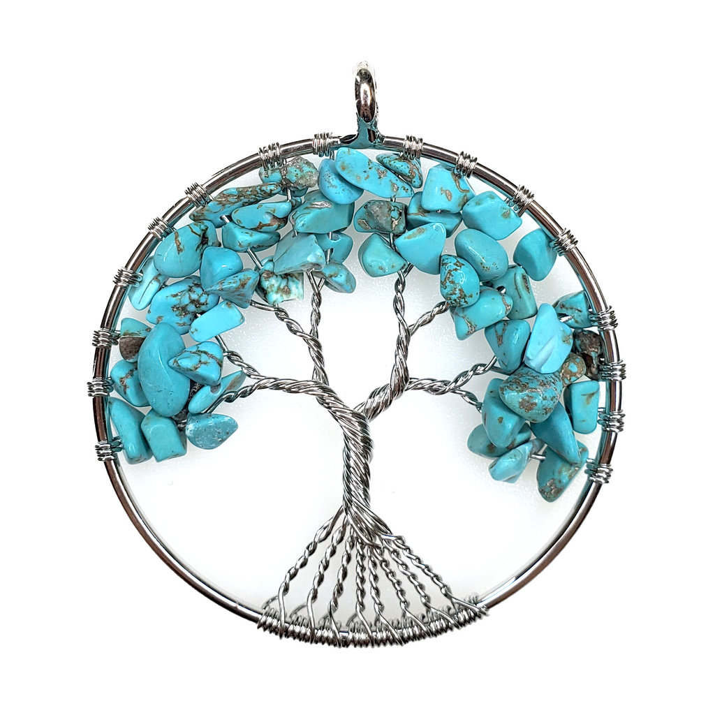 "Tree of Life Turquoise 2"" Pendant"