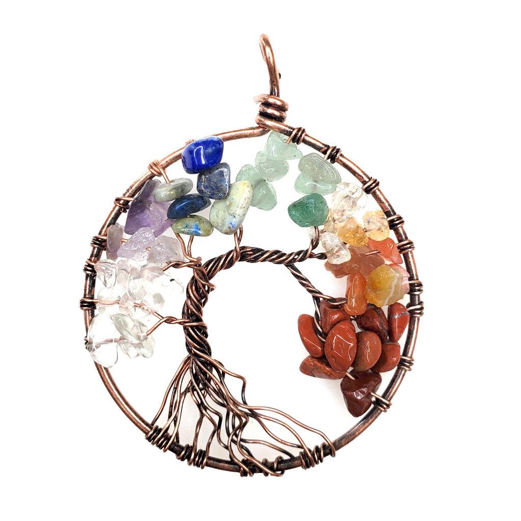 "Tree of Life Rose Gold Chakra 2"" Pendant"