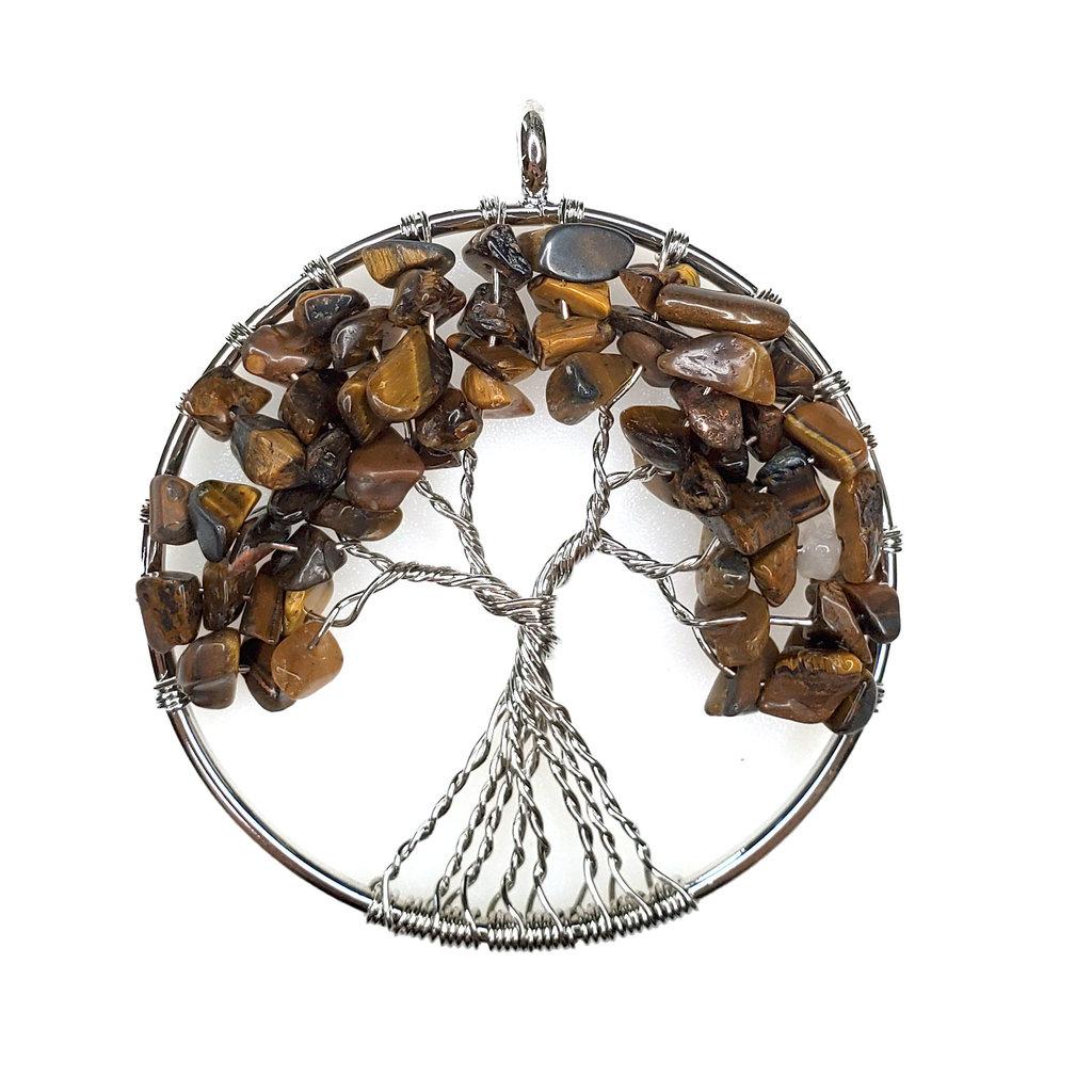 "Tree of Life Tiger Eye 2"" Pendant"