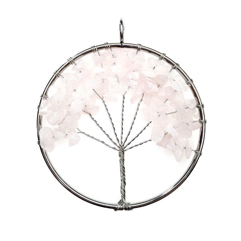 """Tree of Life Rose Quartz 2"""" Pendant"""