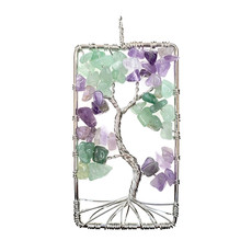 "Rectangular Green Aventurine Tree of Life 2"" Pendant"