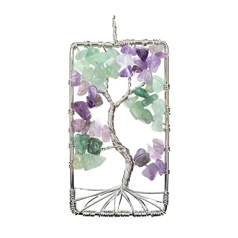 "Rectangular Fluorite Tree of Life 2"" Pendant"