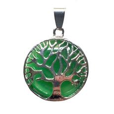 "Solid Tree of Life Green Aventurine 1"" Pendant"