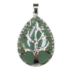 "Solid Egg Tree of Life Green Aventurine 1.5"" Pendant"