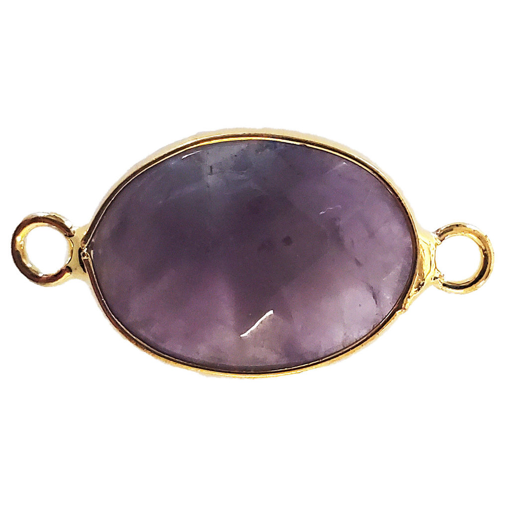 Amethyst Oval Faceted Double Loop Connector