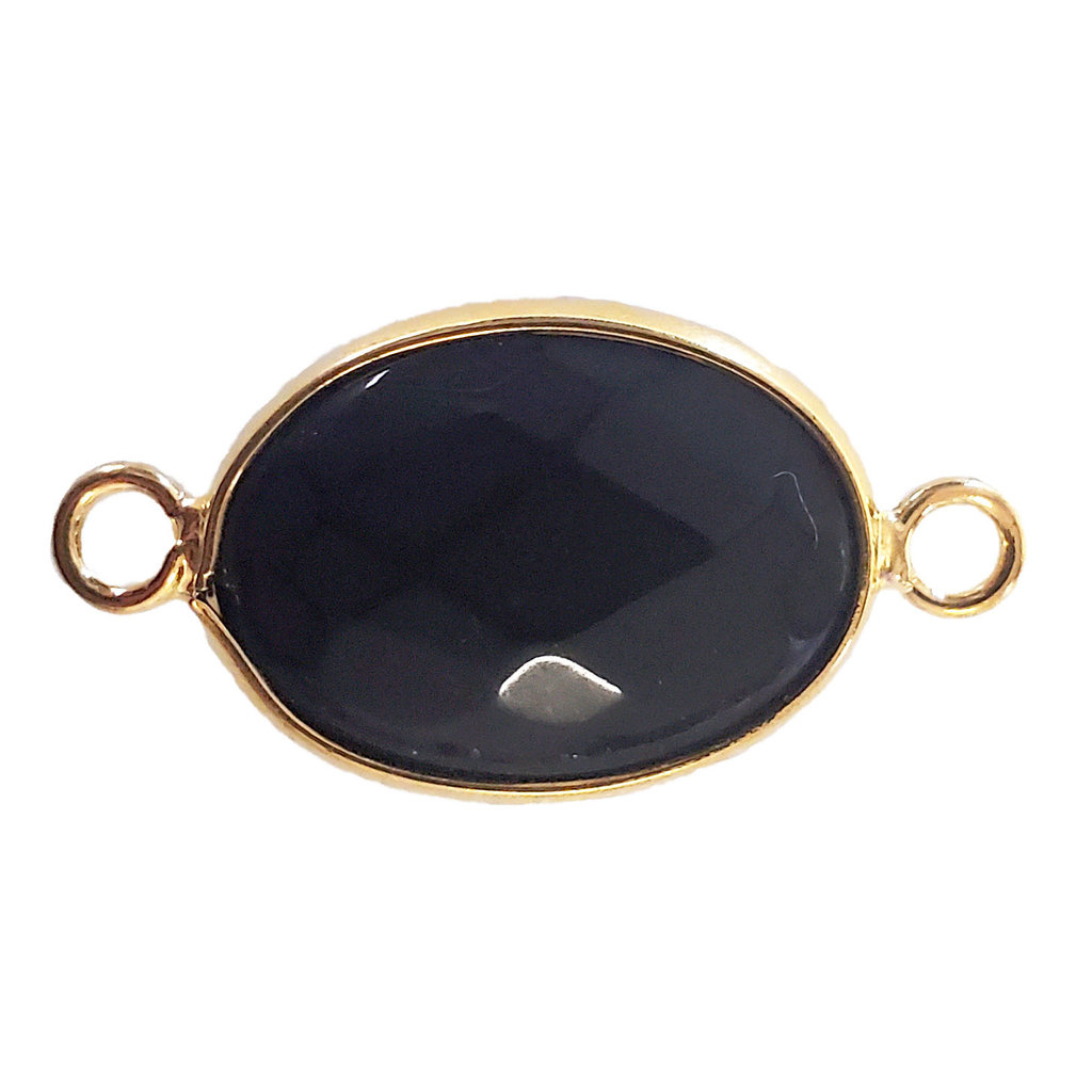 Black onyx Oval Faceted Double Loop Connector